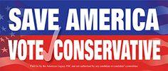 Free Save America vote conservative sticker