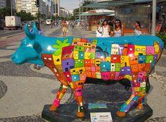 "Rio de Janiero, Brazil - Cows on Parade - ""Rio Shantytown"" - 120  life size fiberglass cow statues in 2009 - 59 statues in 2011"