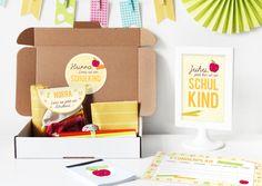 Glückwunschkarten - Einschulungsbox | Geschenkbox Buchstabensalat Gelb - ein Designerstück von naehfein-berlin bei DaWanda