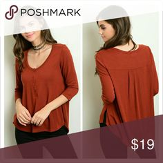 """Rust Top 3/4 sleeves button front detail casual top.   Fabric: 87% Polyester 9% Rayon 4% Spandex   Small Measurements   Length: 26"""" Bust: 40""""   Price firm! No offers please!   No trades.  No holds. Tops"""