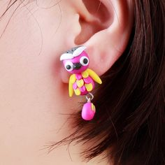 Pameng 3 Color Handmade Polymer Clay Jewelry New Fashion Cute Animal Owl Stud Earrings For Women Girl #Affiliate