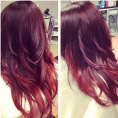Hair Styles Ideas : Illustration Description Bright red ombre hair color idea for black hair, trend of 2015 -Read More – Brown Black Hair Color, Sombre Hair, Red Ombre Hair, Auburn Ombre, Pretty Hairstyles, Hair Inspiration, Hair Makeup, Hair Cuts, Hair Beauty