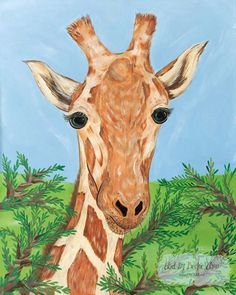 Giraffe African Savanna Safari Animals Kids Girls or Boys Nursery Ready to Frame Zoo Art Print