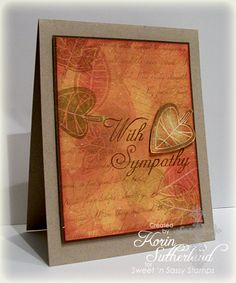 "By Korin Sutherland (sweetnsassystamps at Splitcoaststampers). She used Bo Bunny ""Forever Fall"" paper as background. I'd sponge & stamp to make something similar."