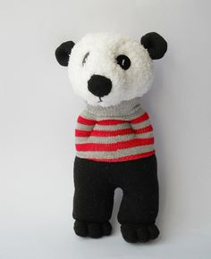 stuffed animal doll panda sock animal sock by TreacherCreatures
