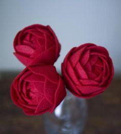 A trio of #felt roses
