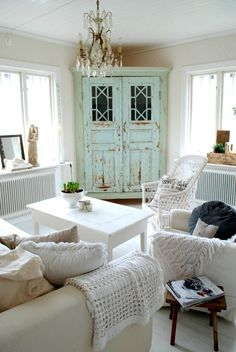 Mint Distressed Cabinet Makes an Accent in All White Shabby Chic Living Room. Mint Distressed Cabinet Makes an Accent in All White Shabby Chic Living Room. Shabby Chic Interiors, Shabby Chic Homes, Distressed Cabinets, Distressed Dresser, Distressed Furniture, Leather Furniture, Shabby Chic Farmhouse, Farmhouse Decor, Farmhouse Ideas
