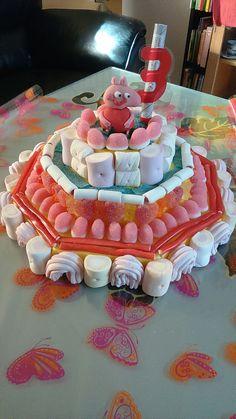 Aquí tenéis otra idea de tarta de chuches. La figura de arriba la he hecho con pasta de azúcar pero se puede sustituir por alguna de plástico. En otros post tenéis el paso a paso de como hace...