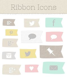 Social Media Icons: pennants in grey, taupe linen, tan, canvas, yellow, pink, mint and white with grey pinstripe  {$6 from Angie Makes} ...love the mint.