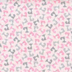 SALE fabric Mini Fox Fabric in Pink Urban Zoologie by FabricShoppe
