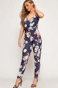 8dcfd3137890 Heidi Floral Crepe Strappy Wrapover Jumpsuit