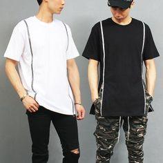 Street Mens Fashion Double Zipper Short Sleeve Tee
