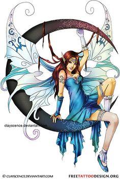Fairy and moon tattoo design