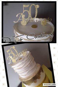 50th Wedding anniversary cake #50thbirthdaycake #50thanniversarycake #50weddinganniversary #50thweddinganniversarycake #goldandwhitecake #personalizedcaketopper #glittercaketopper