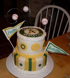 Oakland A's Birthday Cake - Here is my first attempt at fondant, frozen buttercream transfer, stacking and gumpaste!!