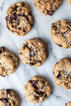 Chunks of dark chocolate and a dust of sea salt make every chewy, gooey bite of these Salted Chocolate Chunk Cookies heavenly. Salted Chocolate Chip Cookies, Sea Salt Chocolate, Baking Recipes, Cookie Recipes, Dessert Recipes, Delicious Desserts, Yummy Food, Sweet Tooth, Sweet Treats