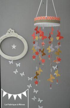 Mobile suspension papillon étoiles gris corail doré abriot pêche  - décoration chambre bébé enfant fille