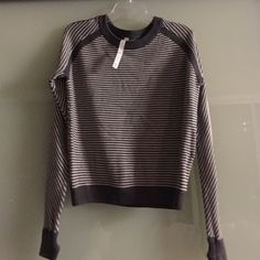 NWOT Lululemon gray and white stripe sweater Never been worn!!! Warm, thick and cozy! lululemon athletica Sweaters Crew & Scoop Necks
