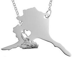 Alaska State Animal Moose Flag Necklace Personalized Engraved Heart Custom Gift Pendant-Valentines Day Love