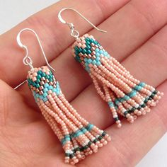 Tassel earrings seed bead dangles