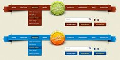 This free PSD file contains 2 retro navigation menus in different colour schemes for you to choose from.