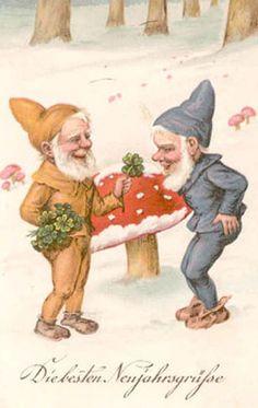 Gnomes Fantasy Artist New Years Greetings Mushrooms Shamrocks Postcard Old World Christmas, Vintage Christmas Cards, Christmas Pictures, Vintage Cards, Vintage Postcards, Vintage Images, Holiday Cards, Red And White Mushroom, Xmas Wishes