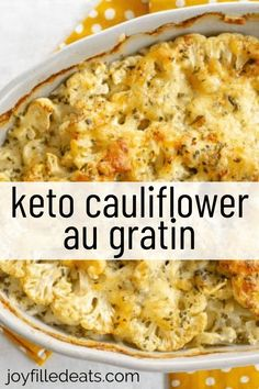 Keto Cauliflower Au Gratin is a cheesy, flavorful side dish that is great for every occasion. You only need 8 ingredients, and it's one of the best things you will ever taste. Cauliflower seasoned with salt, pepper, garlic, and parsley, then topped with shredded swiss cheese. It is inspired by the classic French Potato Gratin Savoyard and just as delicious. Low Carb Side Dishes, Side Dish Recipes, Low Carb Recipes, Diet Recipes, Healthy Recipes, Diabetes Recipes, Recipes Dinner, Salad Recipes, Healthy Food