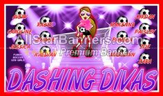 Dashing Divas soccer banner idea from AllStarBanners.com We do soccer banners, baseball banners, softball banners, football banners and team banners for any sport.
