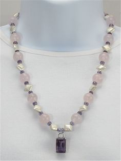 Amethyst pendant necklace with rose quartz beads,        brushed silver beads, purple faceted glass rondelles, pendant necklace, gemstones