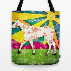 Patchwork Toile Unicorn Tote Bag