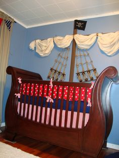 Pirate room!  How fun would this be!  You could tie it to a Peter Pan theme!  THINKING OUTSIDE THE BOX FOR A NAUTICAL THEME YOU COULD JUST MAKE A MAST AND SAILS  SO CUTE