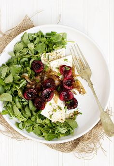 Watercress, Cherry, Shallot and Feta Salad - with a light balsamic and mustard vinaigrette   Seasons and Suppers