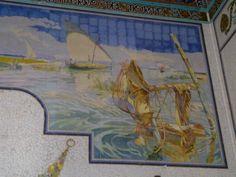 Zicht op Albufera met vissersboten