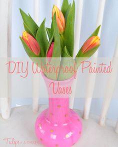 DIY Waterproof Painted Vases
