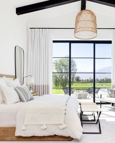 Serene master bedroom with wall of window. Inside a Modern Family Home in La Qui. Serene master bedroom with wall of window. Inside a Modern Family Home in La Quinta, California Farmhouse Master Bedroom, Master Bedroom Design, Dream Bedroom, Home Decor Bedroom, Bedroom Curtains, Bedroom Ideas, Bedroom Loft, Bedroom Furniture, Master Suite