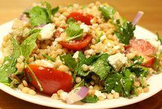 Mediterranean salad with ptitim, artichoke and goat feta - Jewlishious