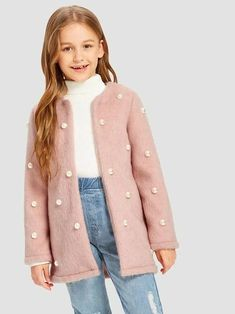 To find out about the Girls Beaded Detail Faux Fur Teddy Coat at SHEIN, part of our latest Girls Jackets & Coats ready to shop online today! Faux Shearling Coat, Faux Fur, Fur Coat, Girls Coats & Jackets, Women's Jackets, Girl Fashion, Fashion Outfits, Sporty Fashion, Ski Fashion