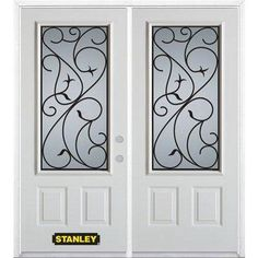 prefinished entry doors. stanley doors - 66 in. x 82 lite pre-finished white double steel entry door with astragal and brickmould home depot canada prefinished