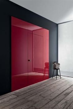 "by Piero Lissoni for Lualdi porte - modern take on the ""red doors"" (new/old Talbots) Architecture Details, Interior Architecture, Interior And Exterior, Modern Interior, The Doors, Windows And Doors, Home Design, Closet Designs, Minimalist Decor"