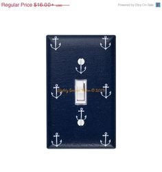 SPRING SALE Anchor Light Switch Plate Cover / Nautical Nursery Decor / Boys Girls Room / Out to Sea Navy Blue Michael Miller