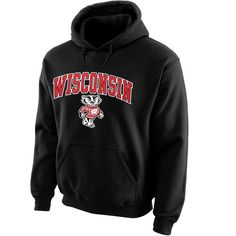 New Agenda Wisconsin Badgers Black Midsize Arch Over Logo Hoodie
