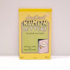 Vintage Effortless Letters for Rumor Spreaders! -- As good as gossip stationery 1980s -- Paula Co. 1988  This is very strange, but funny novelty item that was provocative for the time period. Fill in the blank and check mark spaces to customize your rude letter. Sexual innuendo, corny, rude and very 1980s!  In very good vintage condition -- very minor shelf wear from storage and sticker residue in the upper right hand corner.  23 of the 24 Instant Letters are present. 11 of the 12 plain…