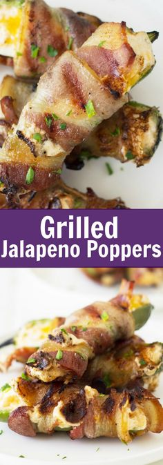 Grilled Jalapeno Poppers are filled with a creamy cheese mixture, wrapped in smokey bacon, then grilled until the cheese becomes nice and gooey!