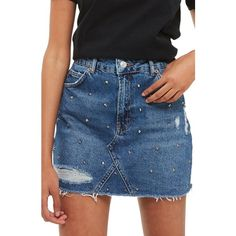 Women's Topshop Stud Rip Denim Miniskirt ($68) ❤ liked on Polyvore featuring skirts, mini skirts, mid denim, denim mini skirt, mini skirt, denim miniskirt, blue denim mini skirt and ripped denim skirt