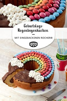 Birthday rainbow cake: Delicious cake with almonds and chocolate nut confectionery balls cake decorating recipes kuchen kindergeburtstag cakes ideas Rainbow Birthday, Birthday Cake, Cake Rainbow, Rainbow Pastel, Happy Birthday, 21 Birthday, Birthday Treats, Easter Treats, Birthday Greetings