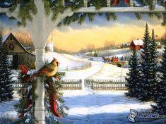 verschneite Landschaft, Vögel, Nadelbäume, Hütte, Kutsche