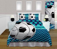 Soccer Duvet Covers - Teal Bedding - Soccer Duvet - Kids Polka Dots & Chevron Sports Personalized - King, Queen/Full, Twin #373 by EloquentInnovations on Etsy