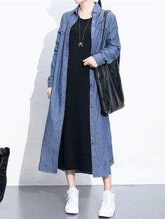 Specification: Sleeve Length:Long Sleeve Neckline:Turn-down Collar Color:Light Blue,Dark Blue Style:Casual Dress Length:Mid-Calf Pattern:Pure Color Material:Cotton Season:Spring,Autumn,Winter Package included: Spring Dresses Casual, Casual Dresses For Women, Casual Outfits, Dress Casual, Casual Shirts, Muslim Fashion, Korean Fashion, Latest Fashion, Denim Shirt Dress