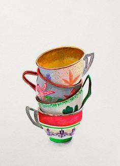 "Nursery Art Print Decor, Painting of Vintage Toy Tea Cups, Gouache, 17 x 24"" on Etsy, $10.00"