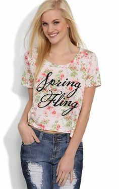 Deb Shops Mid Crop Top with #Floral #Print and #Spring Fling Screen with Lace Back $14.17